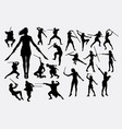 people with weapon silhouette vector image