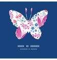 pink flowers butterfly silhouette pattern frame vector image vector image