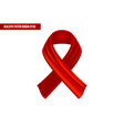 realistic red ribbon in a world aids position vector image vector image