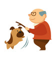 senior man playing with mop canine pet holding vector image vector image