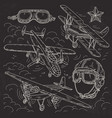 set icons retro old aircraft pilot helmet and vector image vector image