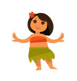 small girl in hawaiian traditional clothes vector image