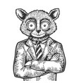 tarsier businessman sketch engraving vector image vector image