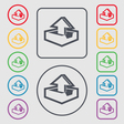 Upload icon sign symbol on the Round and square vector image