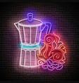 vintage glow signboard with geyser coffee maker vector image vector image