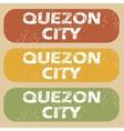 Vintage Quezon City stamp set vector image vector image