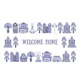 welcome home banner template frame with hand vector image vector image