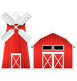 windmill and barn vector image