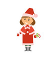 winter character snow maiden holding sweet candy vector image