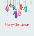 winter clothes Christmas card with mittens vector image