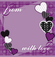 purple background with hearts and text vector image