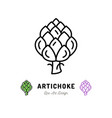 artichoke icon vegetables logo thin line vector image vector image