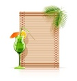 bamboo mat palm cocktail vector image vector image