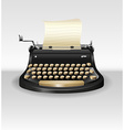 Black retro typwriter with paper vector image