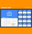 calendar for 2018 year week starts on sunday set vector image vector image
