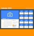 calendar for 2018 year week starts on sunday set vector image