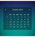 Calendar page for October 2014 vector image vector image