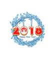 cartoon blue wreath spruce happy new year cookie vector image vector image
