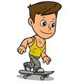 cartoon boy character riding on skateboard vector image vector image