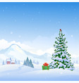 christmas mountains vector image