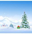 christmas mountains vector image