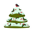 christmas tree evergreen pine decorated with vector image vector image