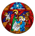 circle shape with the christmas and adoration of vector image vector image