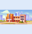 cityscape with hospital building medical clinic vector image vector image