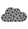 cloud mosaic of fist icons vector image vector image