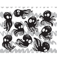 Collection of octopuses in cartoon style vector image