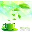 cup tea falling leaves vector image