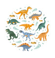 cute dinosaurs pattern round shape prehistoric vector image