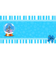 cute festive banner of crystal snow globe on blue vector image