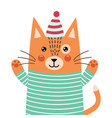 cute ginger cat in pajamas says hello feline vector image vector image
