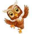 cute owl cartoon waving vector image vector image