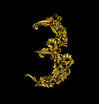 Decorated three digit on black vector image