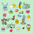 easter background with doodle eggs rabbits chick vector image