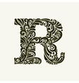 Elegant capital letter R in the style Baroque vector image vector image