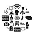 fault icons set simple style vector image vector image
