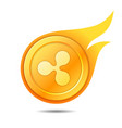 flaming ripple coin symbol icon sign emblem vector image vector image