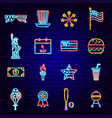 fourth july neon icons vector image vector image