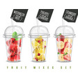 fruit mix realistic set vector image