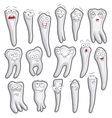 Funny teeth Set of characters 16 pieces vector image