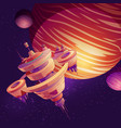 futuristic starship space station cartoon vector image vector image