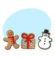 gingerman present snowman gingerbread cookies vector image vector image