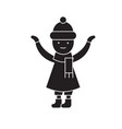 girl with a scarf in winter black concept vector image