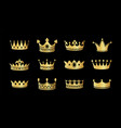 gold crown silhouette icon set collections of vector image