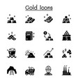 gold icon set in graphic design vector image