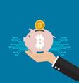 hand holding bitcoin piggy bank vector image vector image