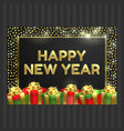 happy new year christmas card gift box ribbon vector image